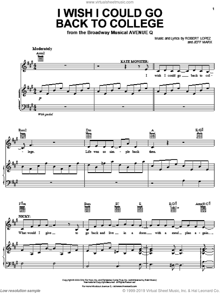 I Wish I Could Go Back To College sheet music for voice and piano by Robert Lopez, Avenue Q and Jeff Marx. Score Image Preview.