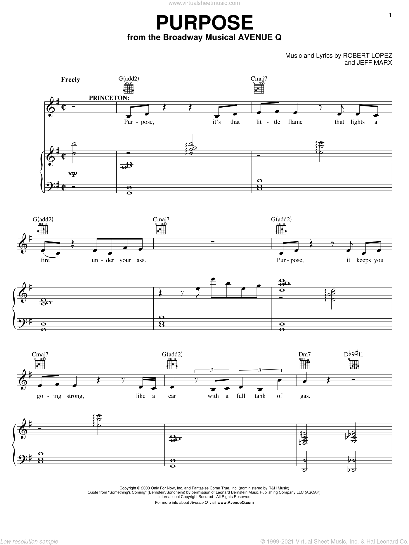 Purpose sheet music for voice and piano by Robert Lopez, Avenue Q and Jeff Marx. Score Image Preview.
