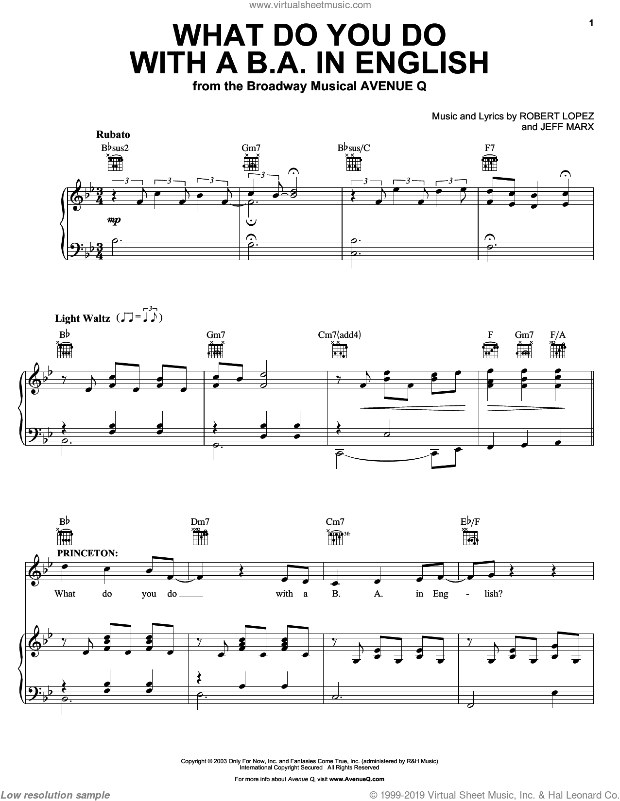 What Do You Do With A B.A. In English sheet music for voice and piano by Robert Lopez and Avenue Q. Score Image Preview.