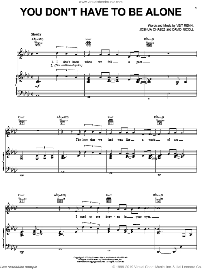 You Don't Have To Be Alone sheet music for voice, piano or guitar by Veit Renn. Score Image Preview.