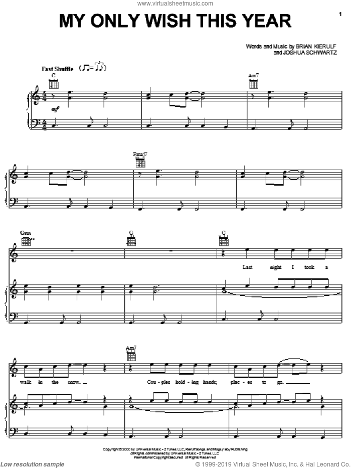 My Only Wish This Year sheet music for voice, piano or guitar by Britney Spears, Brian Kierulf and Joshua Schwartz, intermediate