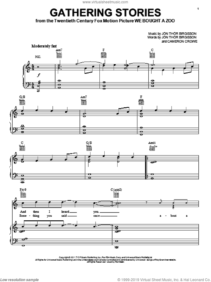Gathering Stories sheet music for voice, piano or guitar by Jon Birgisson. Score Image Preview.