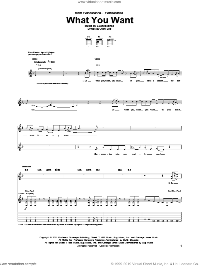 What You Want sheet music for guitar (tablature) by Evanescence and Amy Lee, intermediate. Score Image Preview.