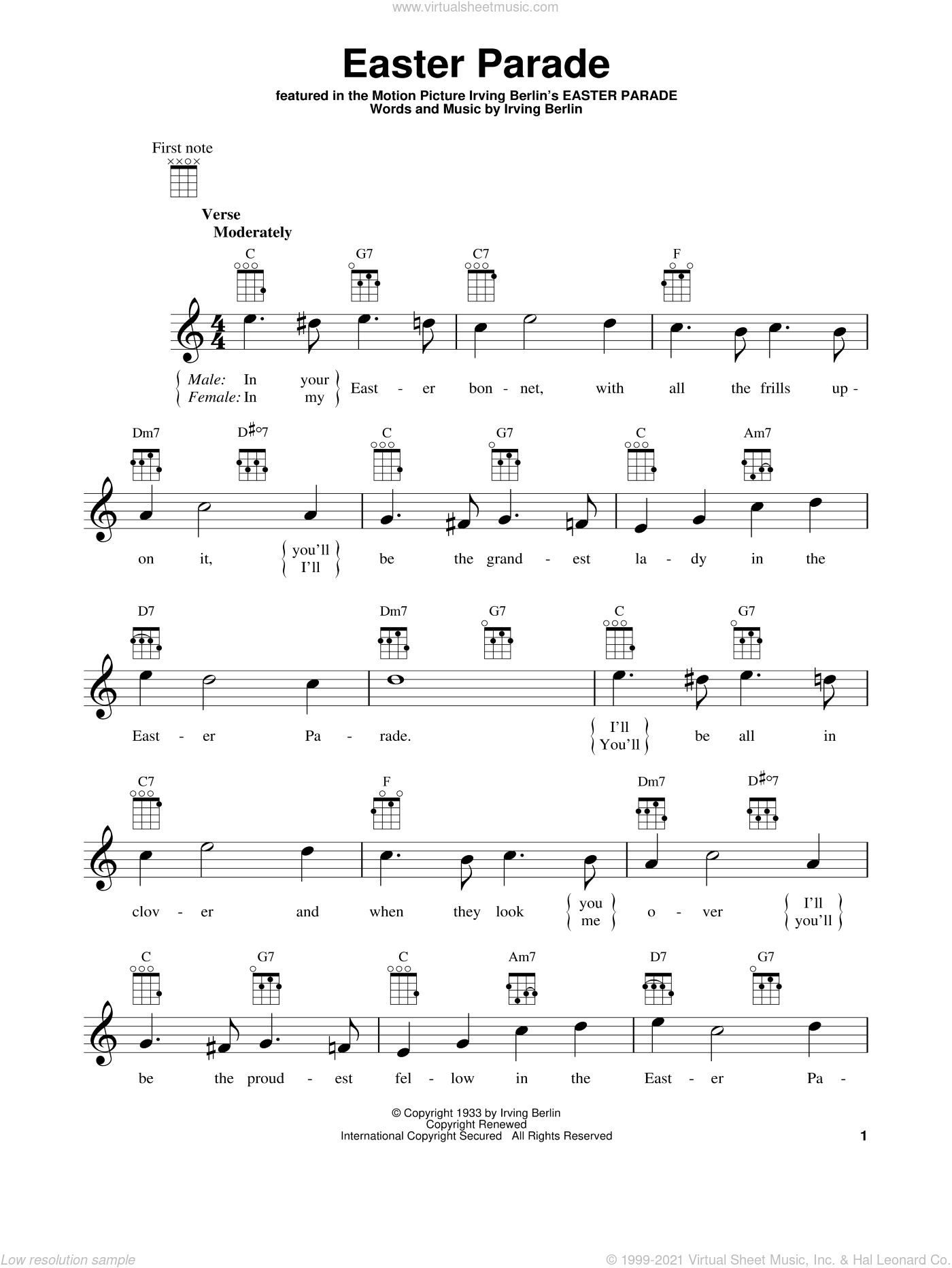 Easter Parade sheet music for ukulele by Irving Berlin, intermediate skill level