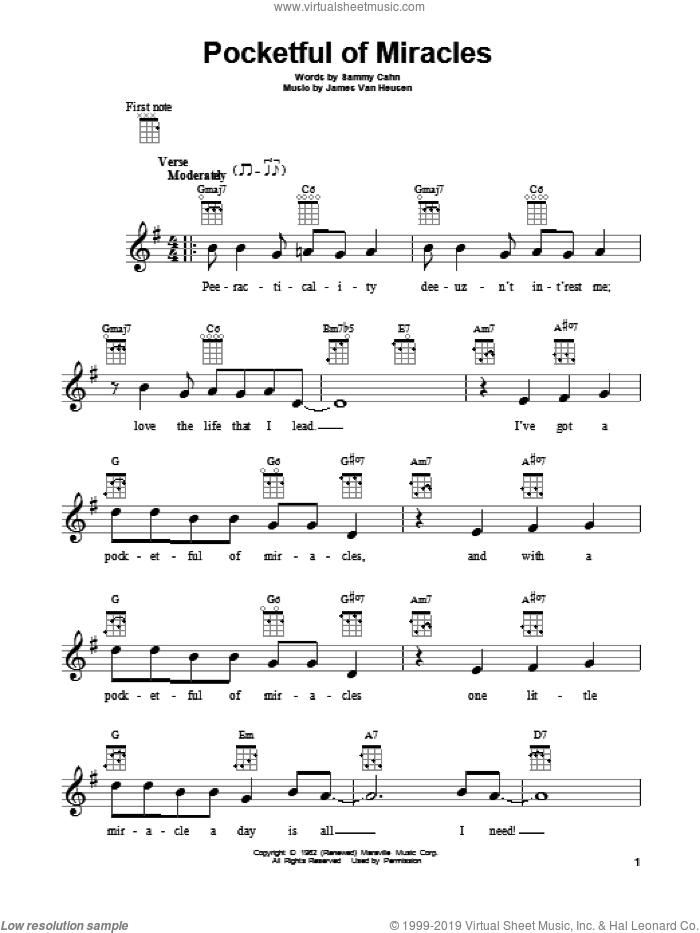 Pocketful Of Miracles sheet music for ukulele by Frank Sinatra, Jimmy van Heusen and Sammy Cahn, intermediate skill level