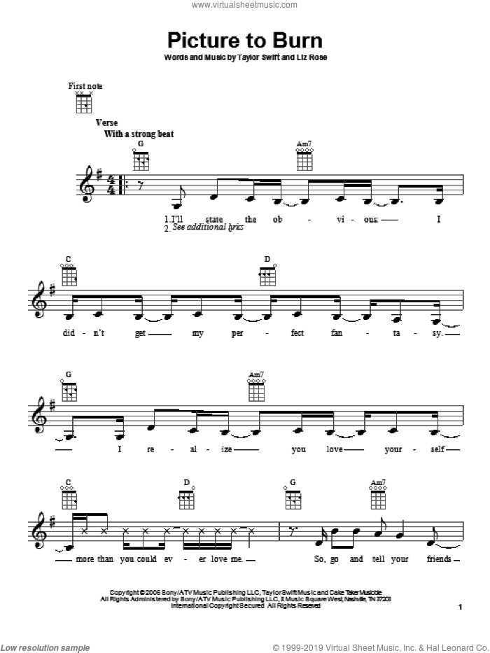 Picture To Burn sheet music for ukulele by Liz Rose and Taylor Swift. Score Image Preview.