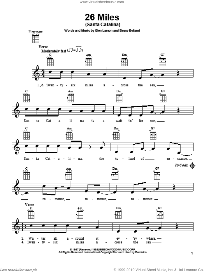26 Miles (Santa Catalina) sheet music for ukulele by Four Preps, Bruce Belland and Glen Larson, intermediate skill level
