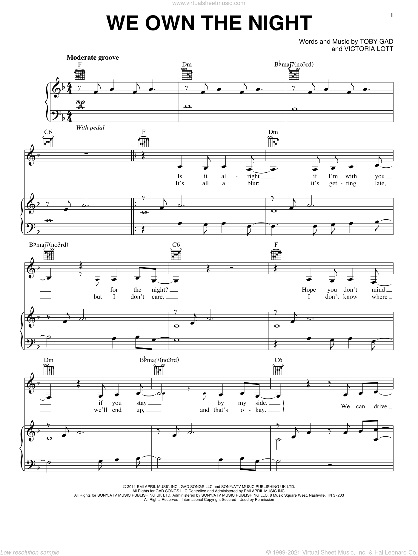 We Own The Night sheet music for voice, piano or guitar by Victoria Lott