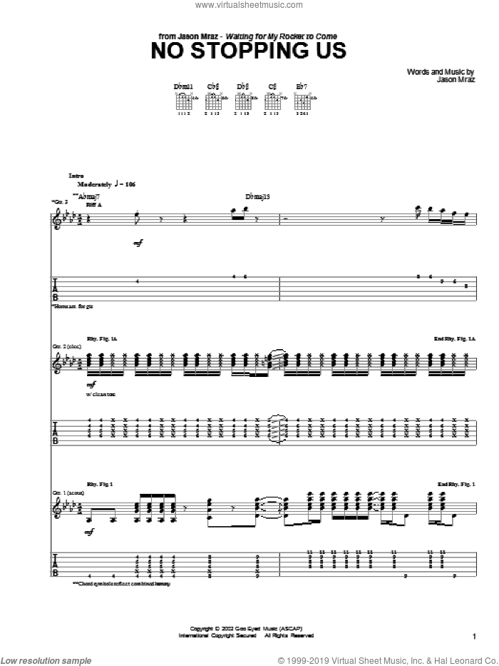 No Stopping Us sheet music for guitar (tablature) by Jason Mraz. Score Image Preview.