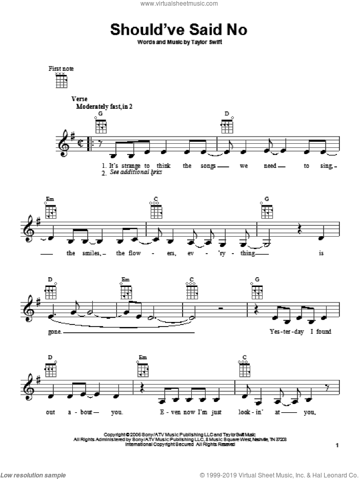 Should've Said No sheet music for ukulele by Taylor Swift, intermediate. Score Image Preview.