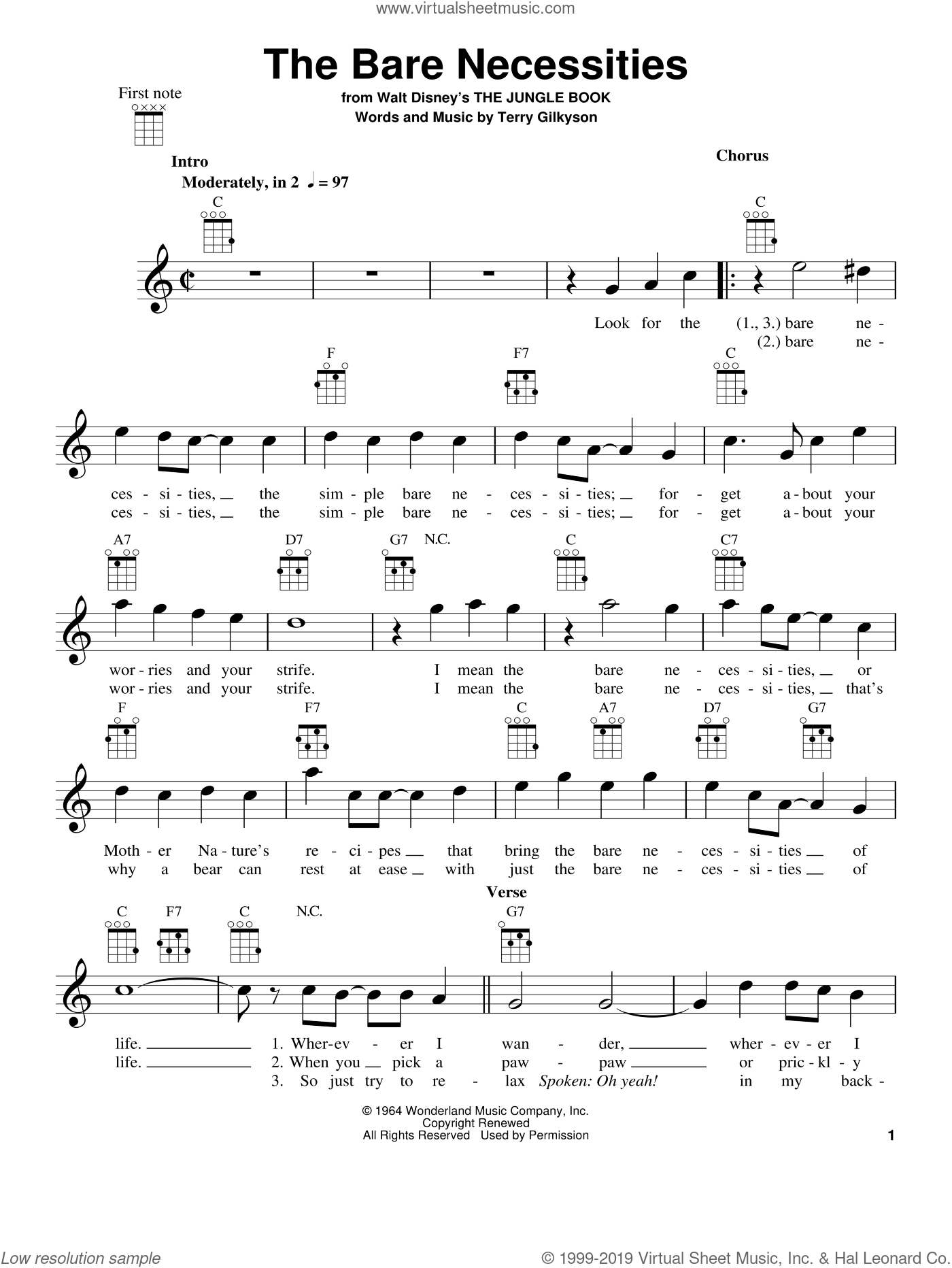 The Bare Necessities sheet music for ukulele by Terry Gilkyson. Score Image Preview.
