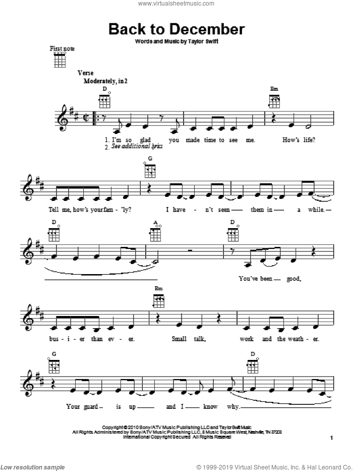 Back To December sheet music for ukulele by Taylor Swift, intermediate skill level