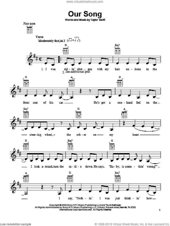 Our Song sheet music for ukulele by Taylor Swift. Score Image Preview.