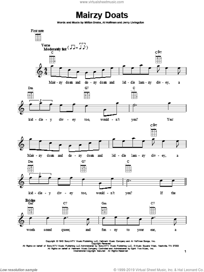 Mairzy Doats sheet music for ukulele by Jerry Livingston, Al Hoffman and Milton Drake. Score Image Preview.