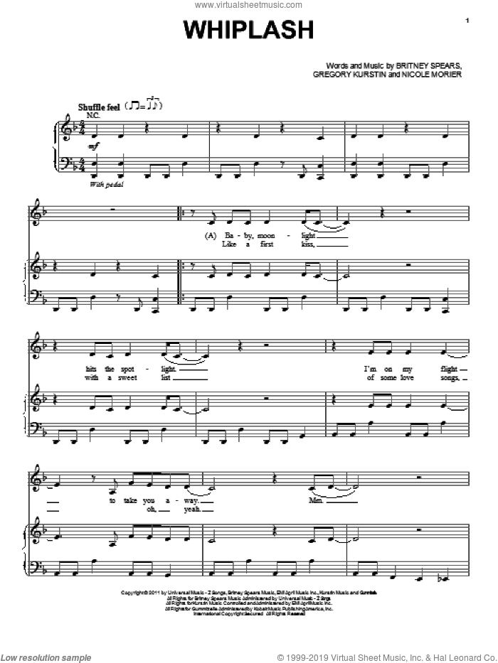 Whiplash sheet music for voice, piano or guitar by Nicole Morier, Selena Gomez, Britney Spears and Gregory Kurstin