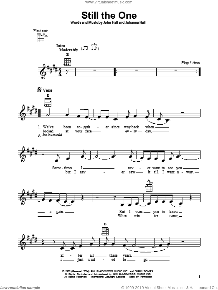 Still The One sheet music for ukulele by Orleans, Johanna Hall and John Hall, intermediate