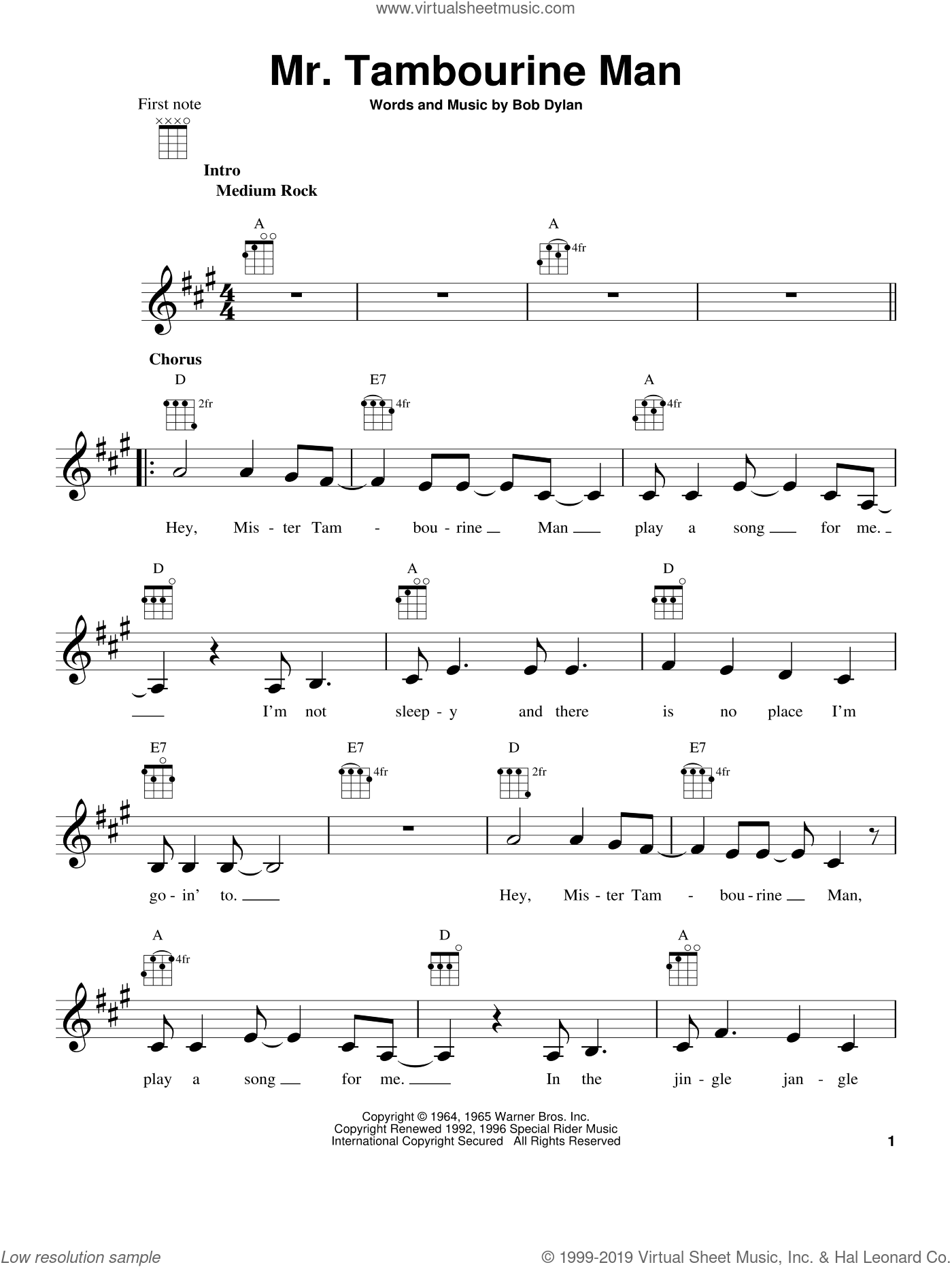 Mr. Tambourine Man sheet music for ukulele by Bob Dylan. Score Image Preview.