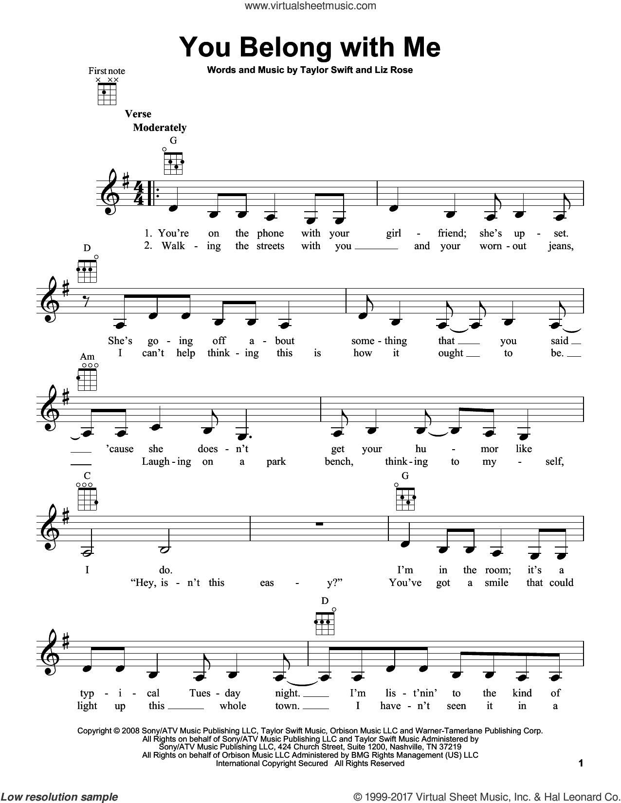 You Belong With Me sheet music for ukulele by Taylor Swift and Liz Rose, intermediate skill level