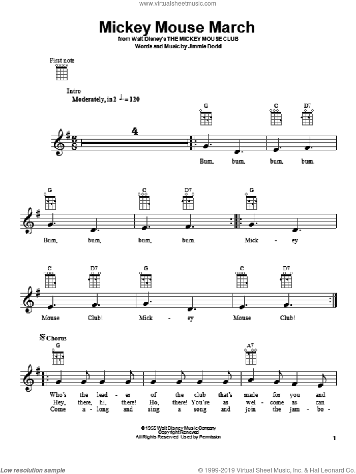 Mickey Mouse March sheet music for ukulele by Jimmie Dodd, intermediate skill level
