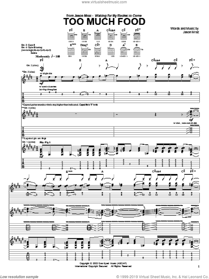 Too Much Food sheet music for guitar (tablature) by Jason Mraz. Score Image Preview.