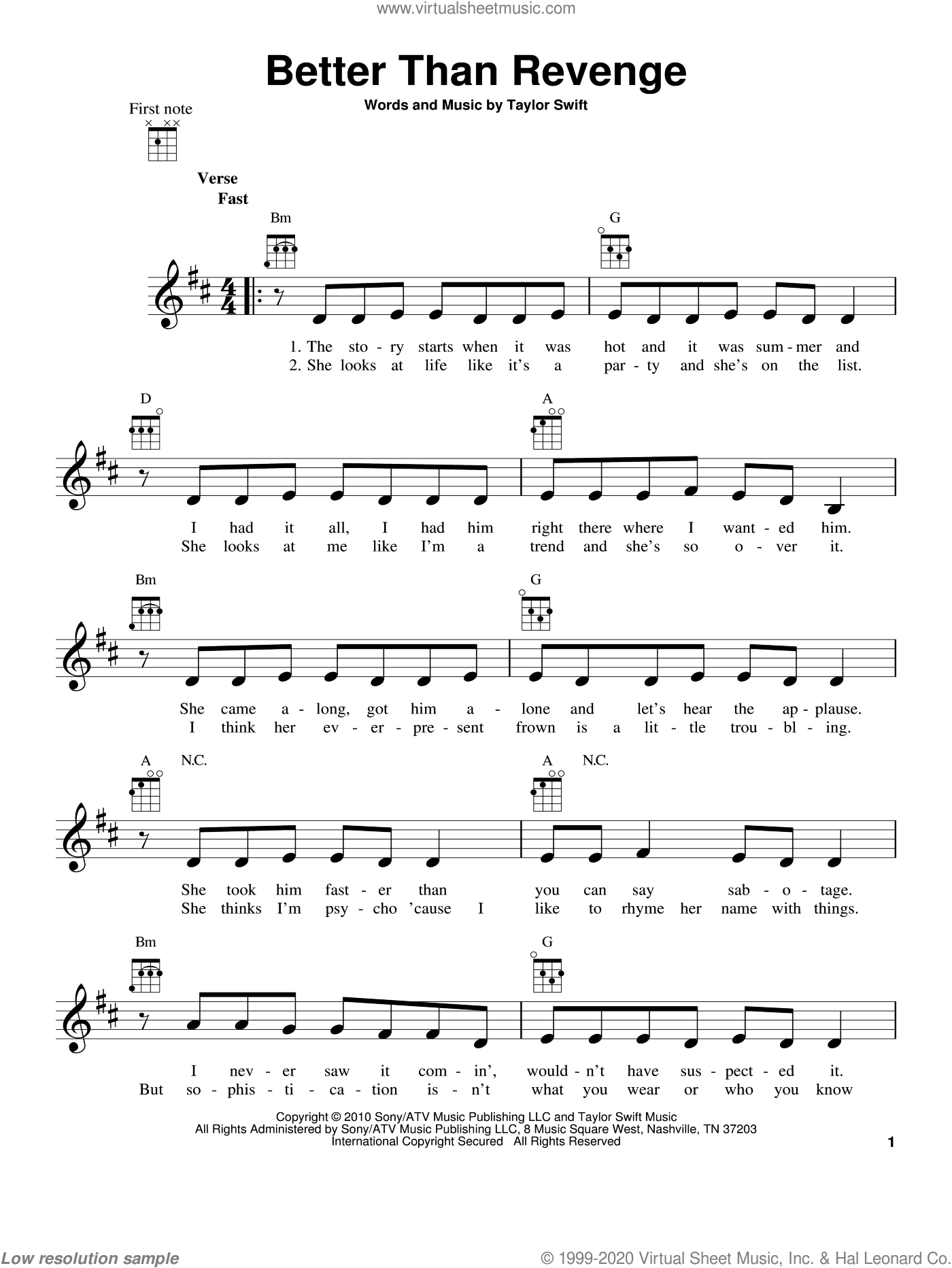 Better Than Revenge sheet music for ukulele by Taylor Swift, intermediate skill level