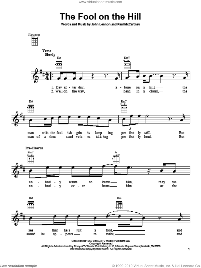 The Fool On The Hill sheet music for ukulele by The Beatles, John Lennon and Paul McCartney, intermediate. Score Image Preview.