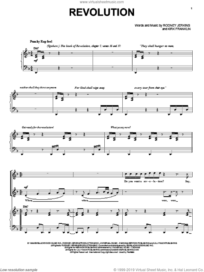 Revolution sheet music for voice, piano or guitar by Rodney Jerkins and Kirk Franklin. Score Image Preview.