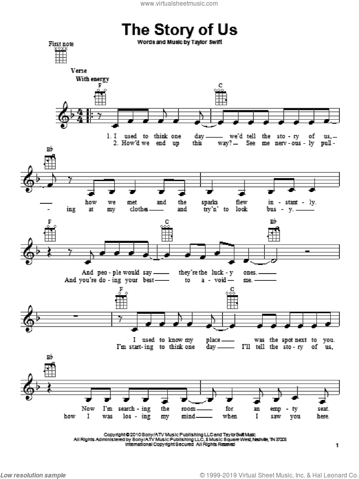 The Story Of Us sheet music for ukulele by Taylor Swift. Score Image Preview.
