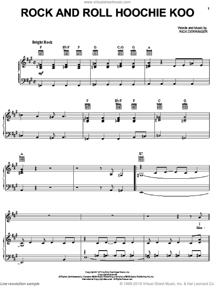 Rock And Roll Hoochie Koo sheet music for voice, piano or guitar by Rick Derringer, intermediate skill level