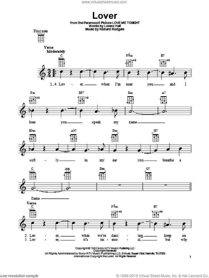 Lover sheet music for ukulele by Ella Fitzgerald, Lorenz Hart and Richard Rodgers, intermediate