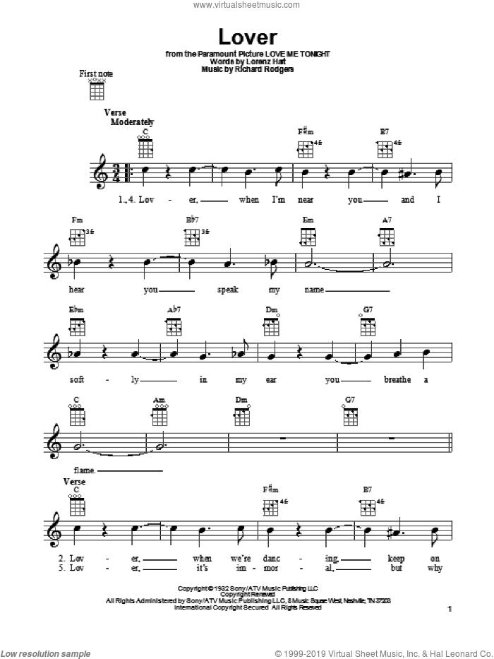 Lover sheet music for ukulele by Ella Fitzgerald, Lorenz Hart and Richard Rodgers, intermediate skill level