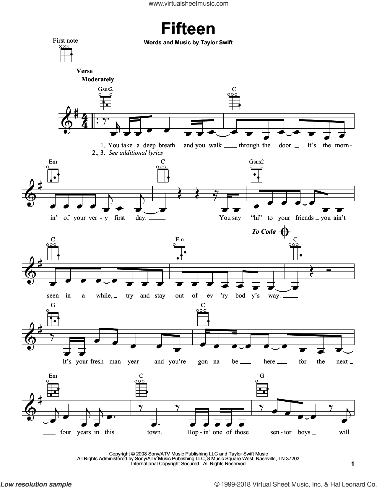 Fifteen sheet music for ukulele by Taylor Swift. Score Image Preview.