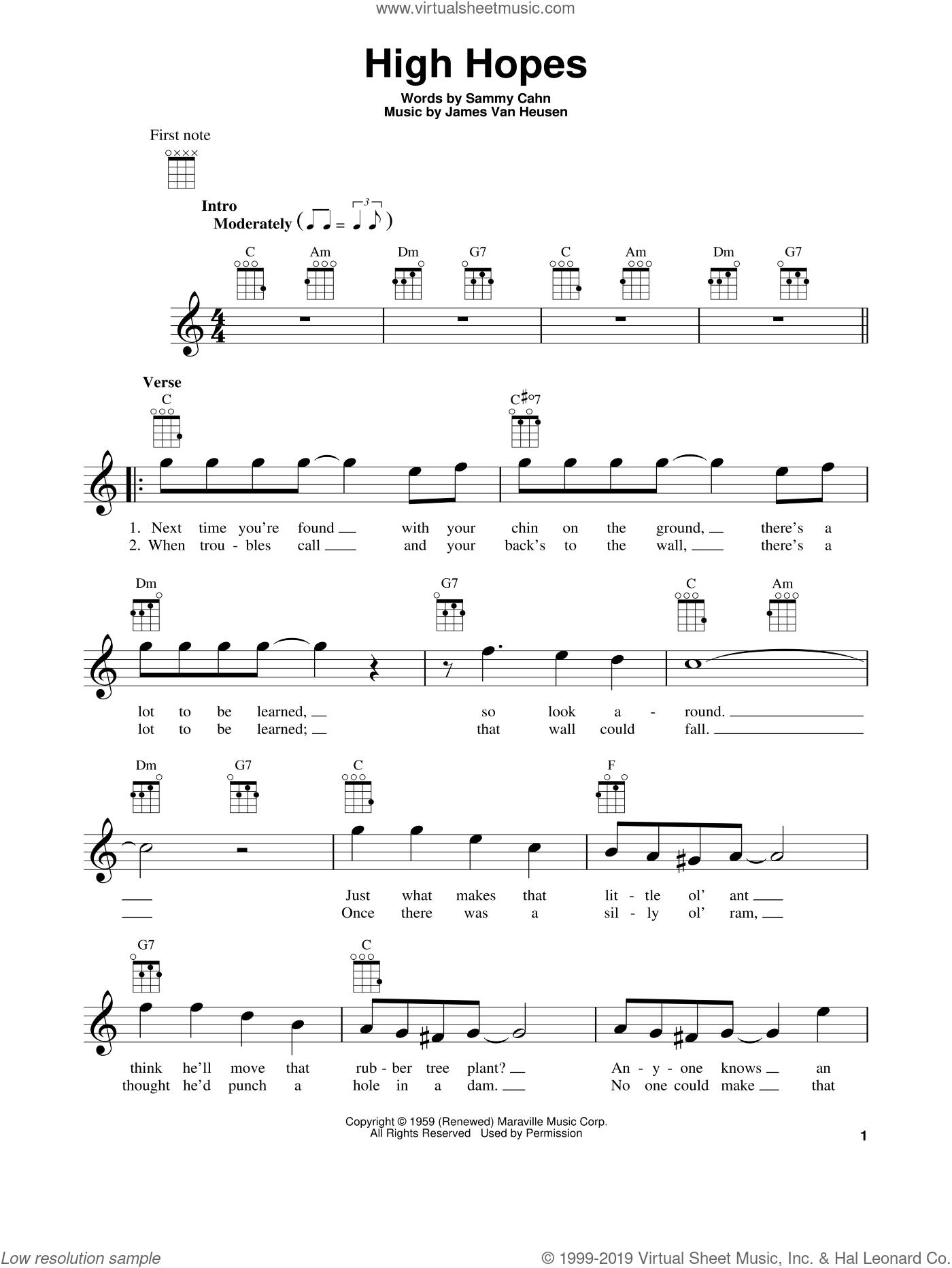 High Hopes sheet music for ukulele by Sammy Cahn and Jimmy van Heusen, intermediate skill level