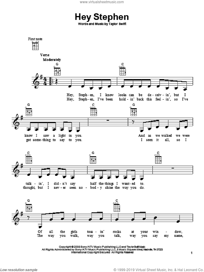 Hey Stephen sheet music for ukulele by Taylor Swift, intermediate. Score Image Preview.