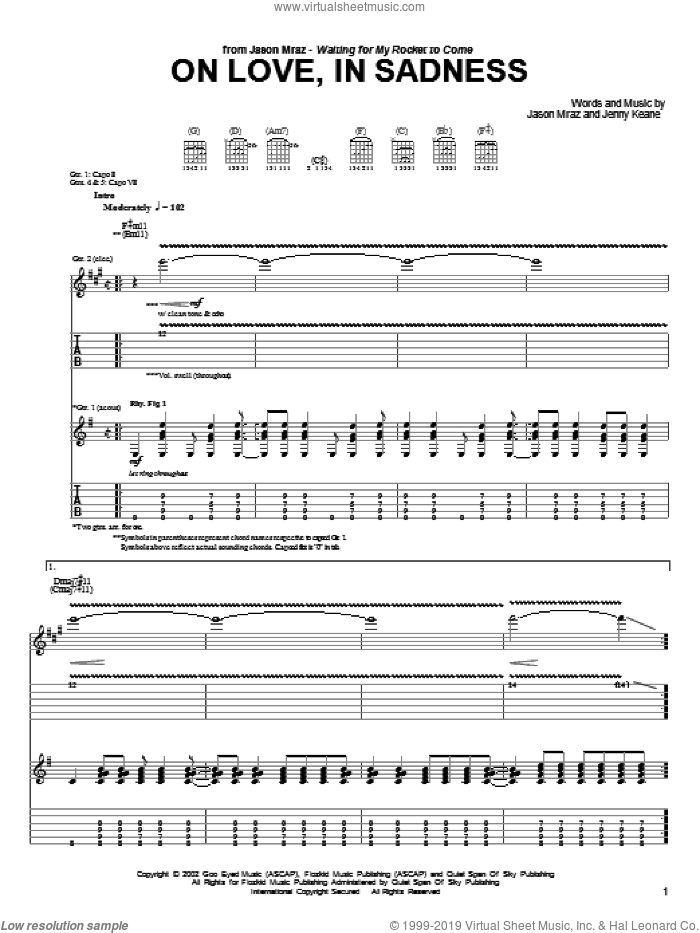 On Love, In Sadness sheet music for guitar (tablature) by Jason Mraz, intermediate. Score Image Preview.