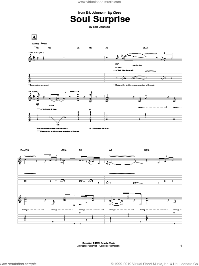 Soul Surprise sheet music for guitar (tablature) by Eric Johnson. Score Image Preview.