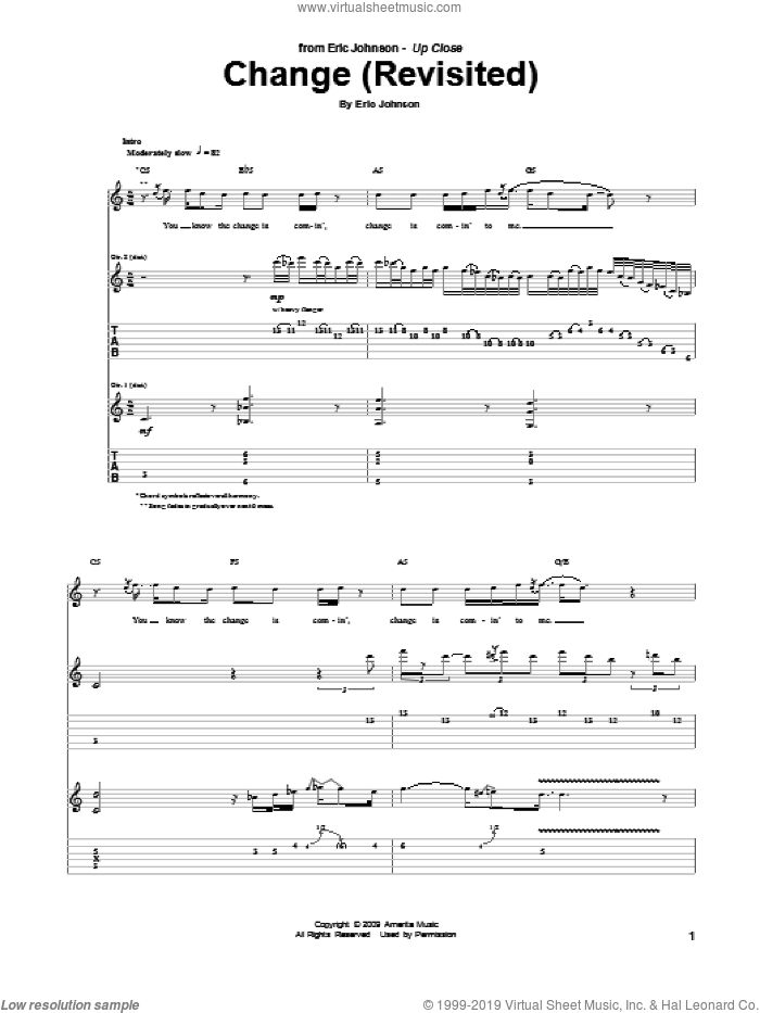 Change (Revisited) sheet music for guitar (tablature) by Eric Johnson. Score Image Preview.