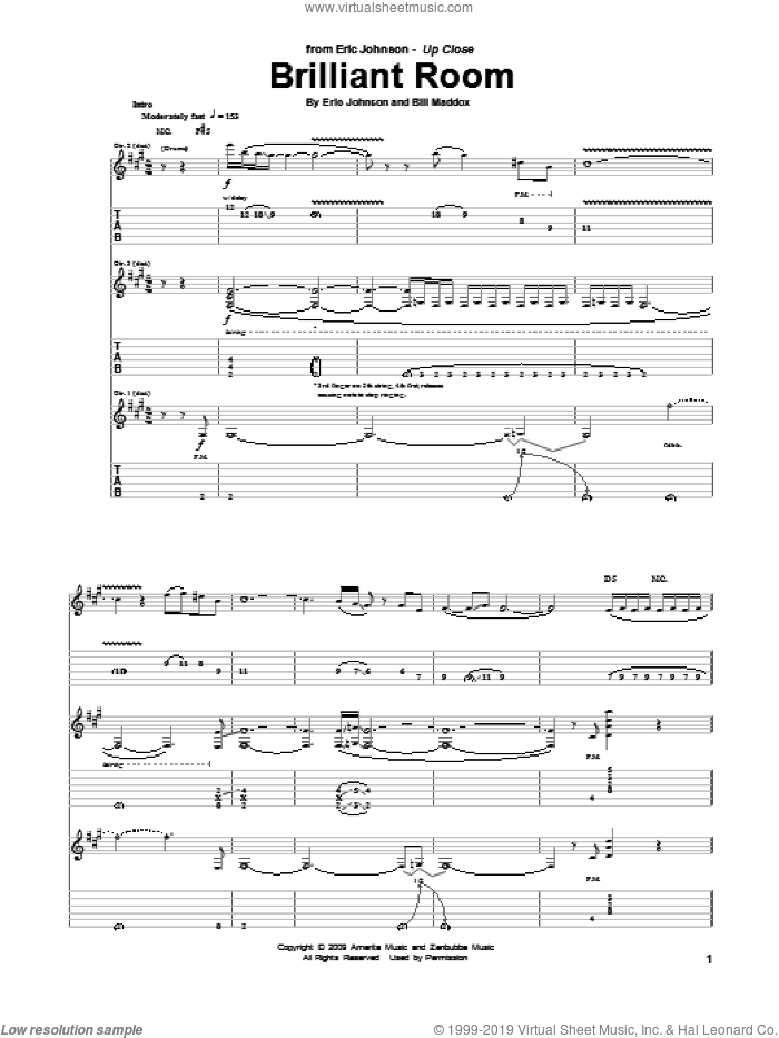 Brilliant Room sheet music for guitar (tablature) by Eric Johnson and Bill Maddox, intermediate skill level