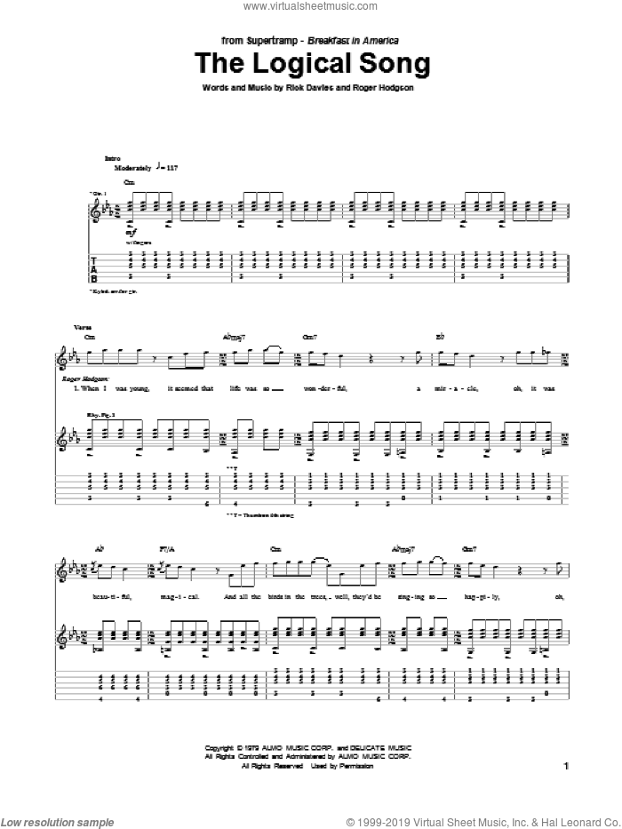 The Logical Song sheet music for guitar (tablature) by Supertramp, Rick Davies and Roger Hodgson, intermediate. Score Image Preview.