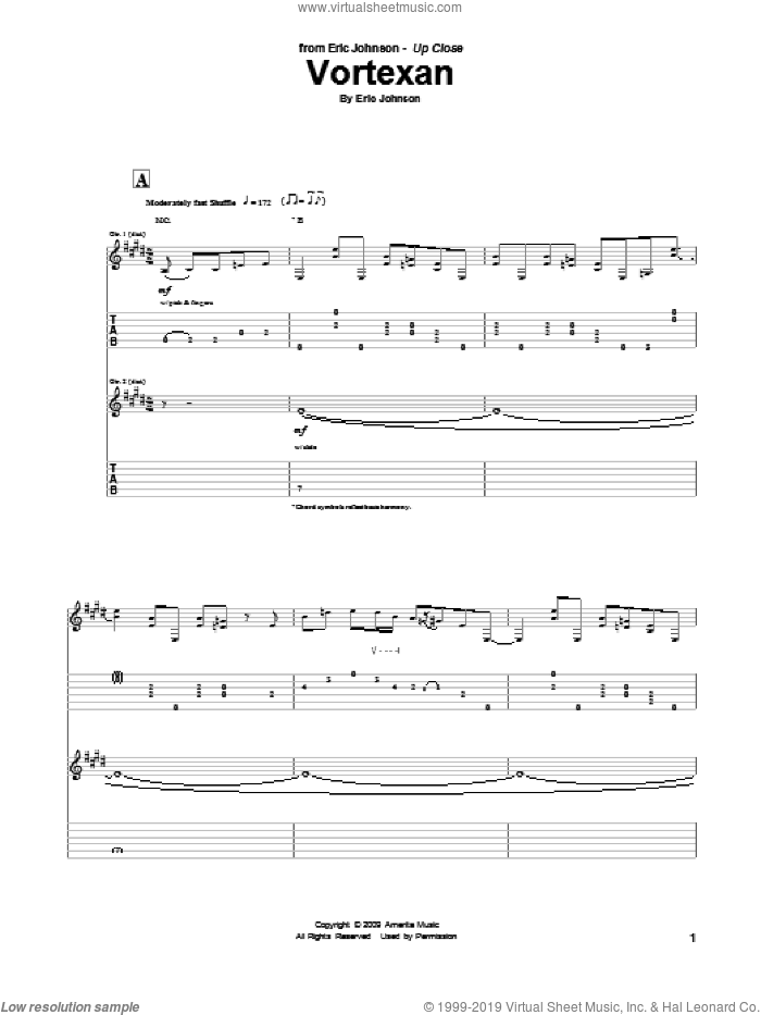 Vortexan sheet music for guitar (tablature) by Eric Johnson, intermediate. Score Image Preview.