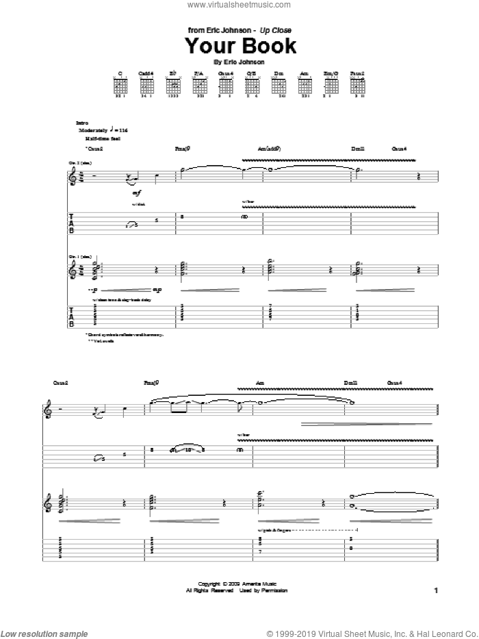 Your Book sheet music for guitar (tablature) by Eric Johnson. Score Image Preview.