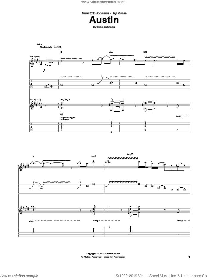 Austin sheet music for guitar (tablature) by Eric Johnson