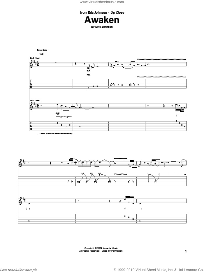 Awaken sheet music for guitar (tablature) by Eric Johnson, intermediate. Score Image Preview.
