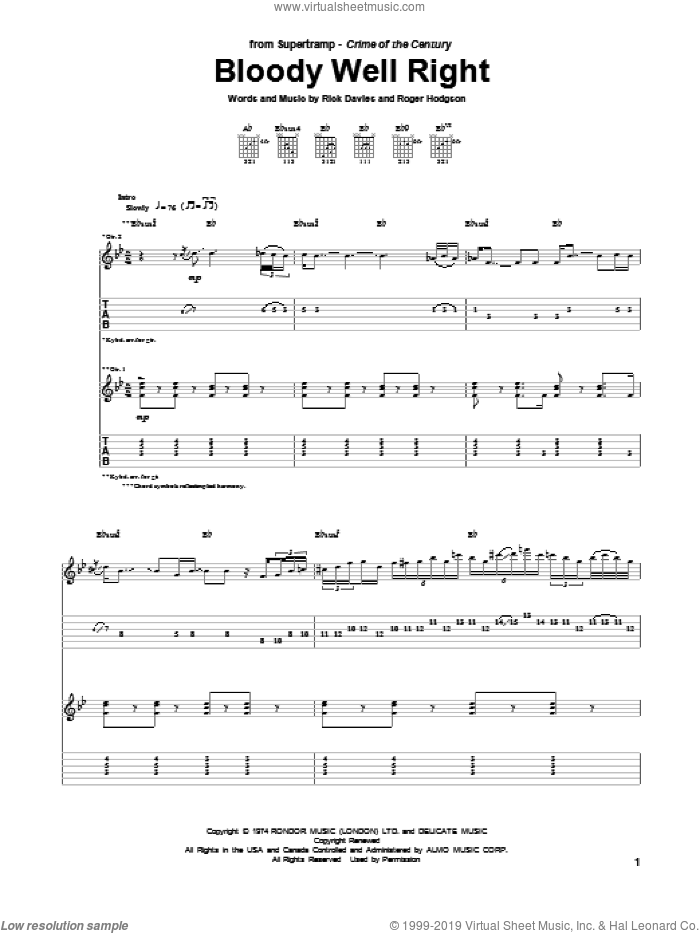 Bloody Well Right sheet music for guitar (tablature) by Roger Hodgson, Supertramp and Rick Davies. Score Image Preview.