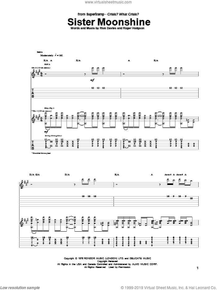Sister Moonshine sheet music for guitar (tablature) by Roger Hodgson, Supertramp and Rick Davies. Score Image Preview.