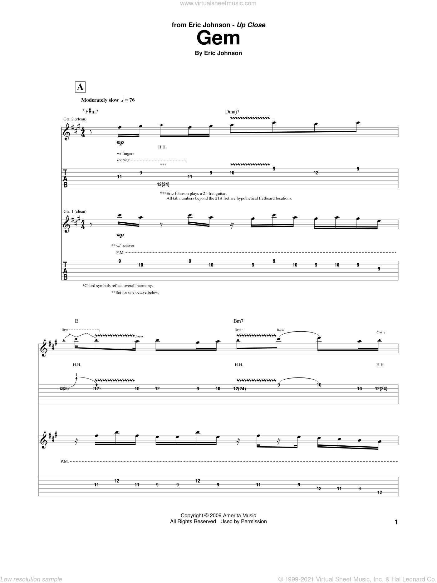 Gem sheet music for guitar (tablature) by Eric Johnson, intermediate