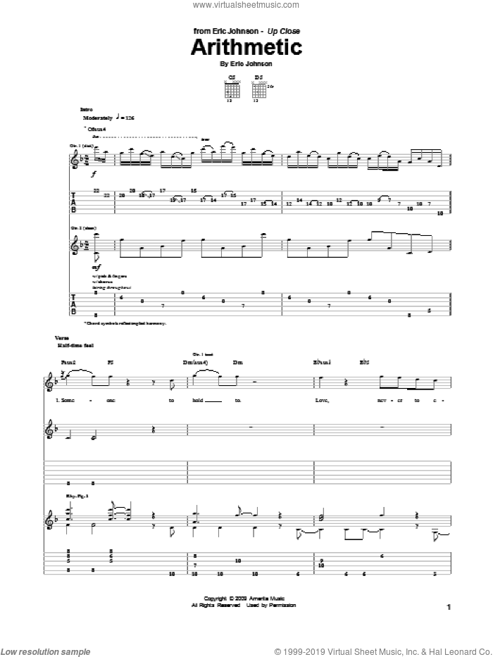 Arithmetic sheet music for guitar (tablature) by Eric Johnson, intermediate skill level