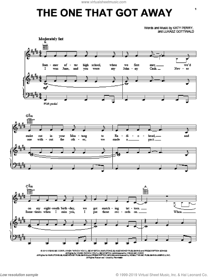 The One That Got Away sheet music for voice, piano or guitar by Max Martin, Katy Perry and Lukasz Gottwald. Score Image Preview.