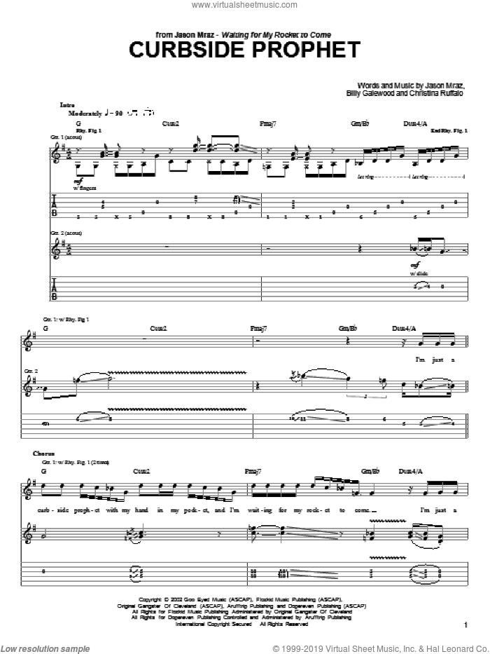 Curbside Prophet sheet music for guitar (tablature) by Christina Ruffalo, Bill Galewood and Jason Mraz. Score Image Preview.
