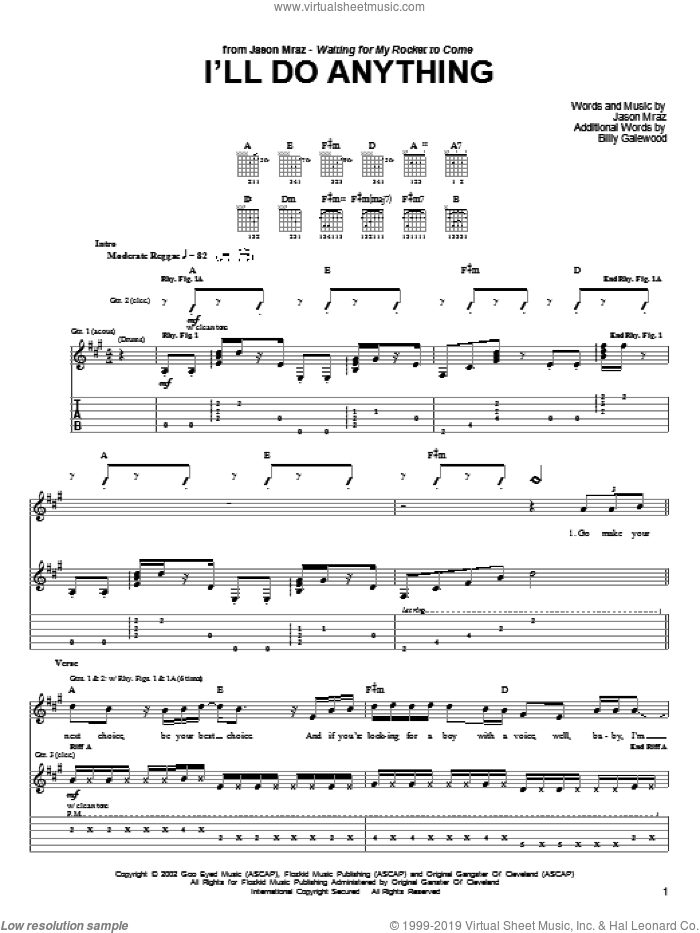 I'll Do Anything sheet music for guitar (tablature) by Jason Mraz, intermediate. Score Image Preview.